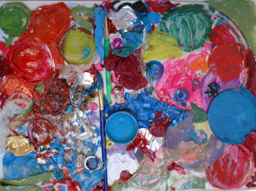 Imperfect Things, assemblage of paint skins, paint brushes, and found objects on canvas