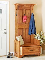 Paneled Entry Bench Woodworking Plan - fee plans from WoodworkersWorkshop® Online Store - hallway furniture, mud room benches, entrance way storage,full sized patterns,woodworking plans,woodworkers projects,blueprints,drawings,blueprints,how-to-build