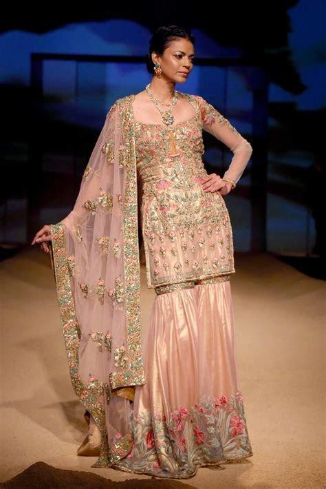 Powder Pink And Gold Thread Work Sharara Set   Saher