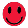 Free Clipart Picture of a Red Smiley Face