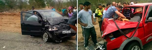 Fox preto e Fiat Uno vermelho ficaram destruídos com a força da colisão (Foto: Divulgação/Polícia Militar do RN)
