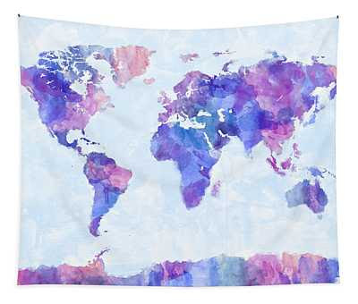 Map Of The World Map Watercolor Painting Digital Art By