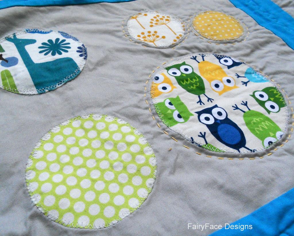 Darraghs quilt hand stitched owl block