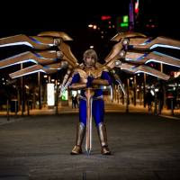 Leo Simon's Aether Wing Kayle is based of the League of Legends character and can actuate from a fully closed position to full spread using a smartphone app.