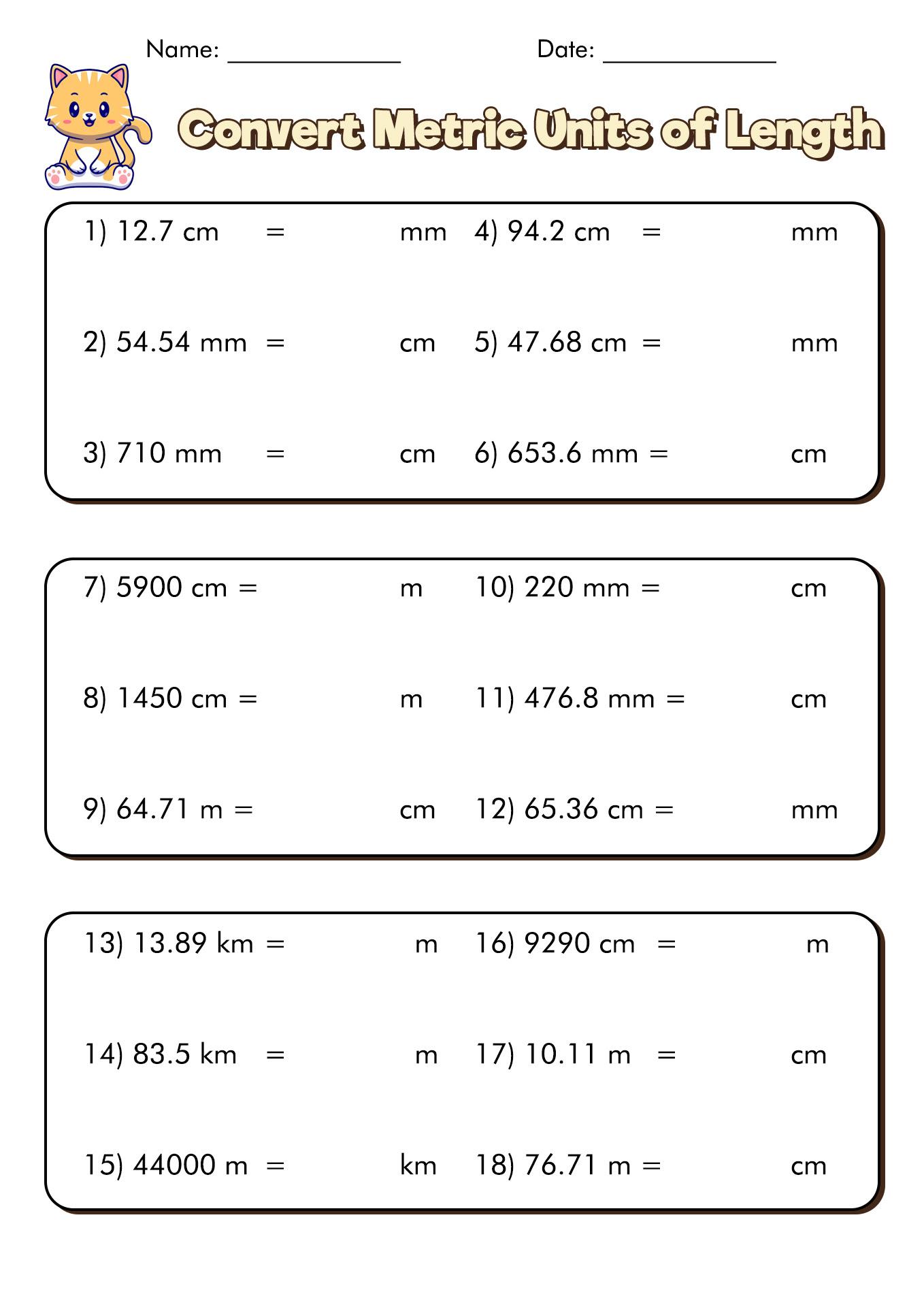 12 Best Images of Measuring Units Worksheet Answer Key  Metric Unit Conversion Worksheet