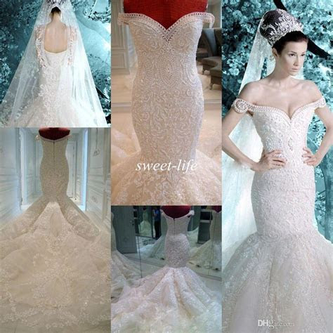 Michael Cinco Wedding Dresses 2015 Vintage Pearls Lace