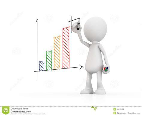 man drawing  graph stock illustration image