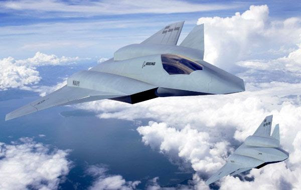 An artist's concept of Boeing's F/A-XX stealth fighter jet.