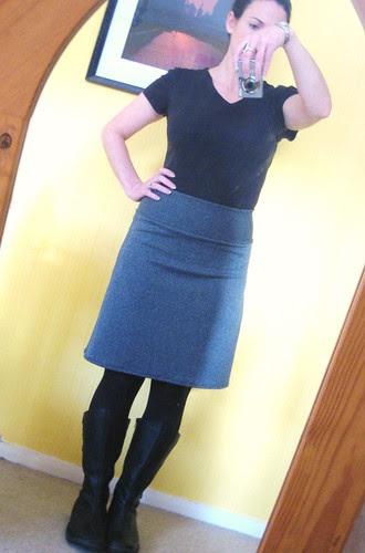 grey skirt longer