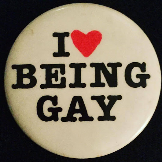 "Pink Mince — lgbt-history-archive:   ""I ❤️ BEING GAY"" pinback,..."