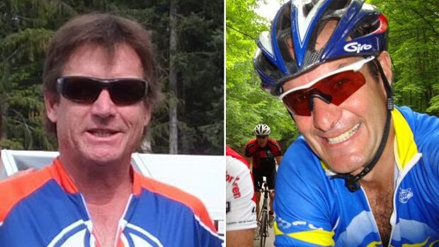 Whistler cyclists Kelly Blunden, left, and Ross Chafe, right, were struck and killed north of Whistler, B.C., on Sunday.