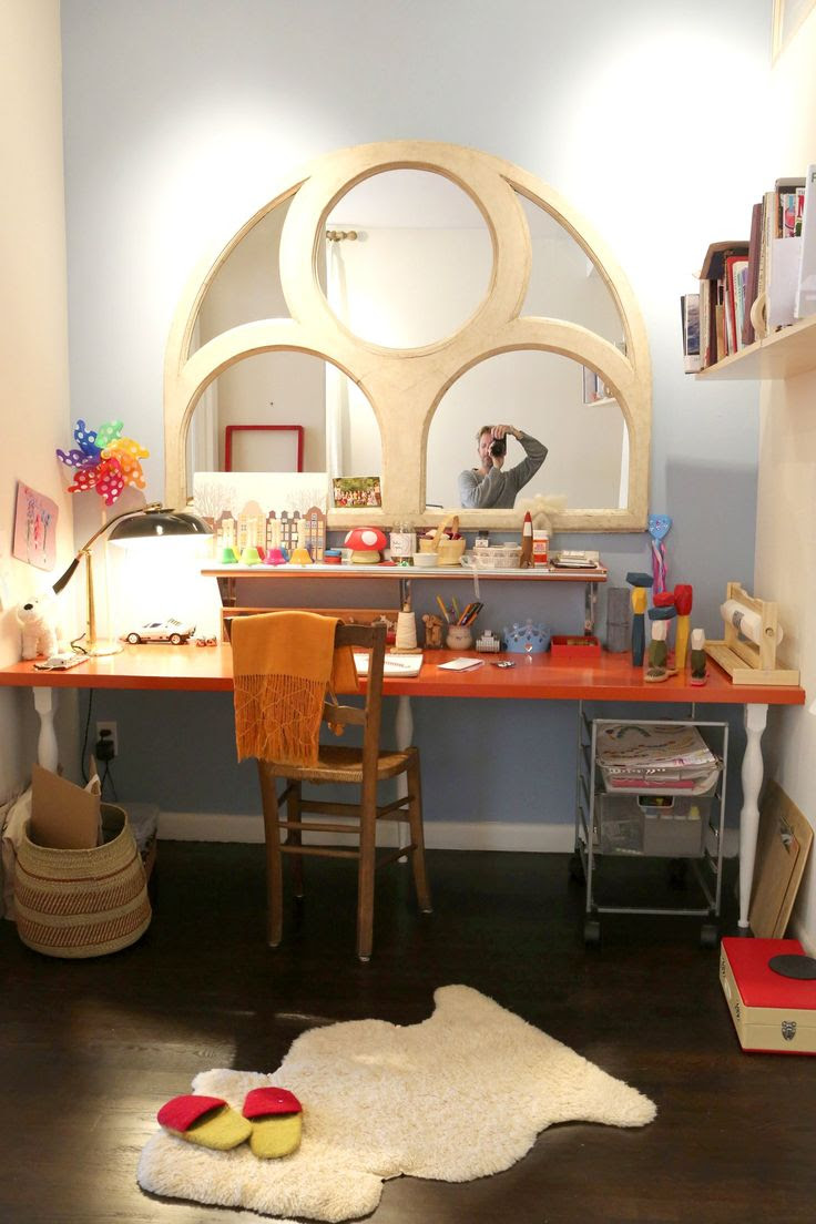 How To Make an Easy, Built-In & Colorful Desk from Basic IKEA Components Apartment Therapy Tutorials. Love the mirror.