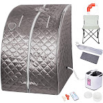 TheLAShop Portable Sauna Tent Steam SPA w/ Chair Remote Gray 2L