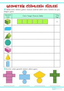3 Sınıf Geometrik Cisimler Açınımları Etkinlik Sayfası Sınıf