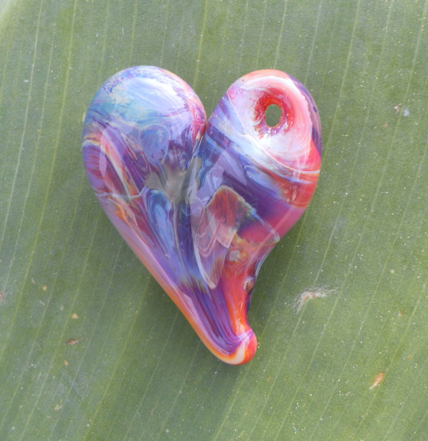 Pink and Purple Glass Heart