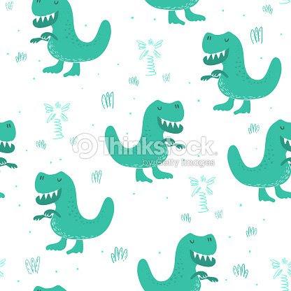 面白い恐竜とかわいいシームレス パターンベクトル イラスト ベクトル