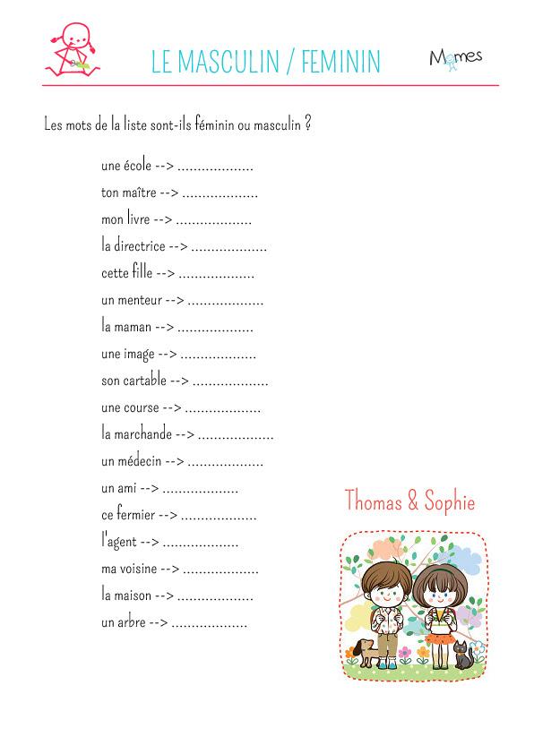Exercice De Grammaire Noms Féminins Et Masculins 2 Momesnet