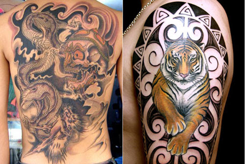 Colorful Dragon And Tiger Tattoo Picture Tattoomagz