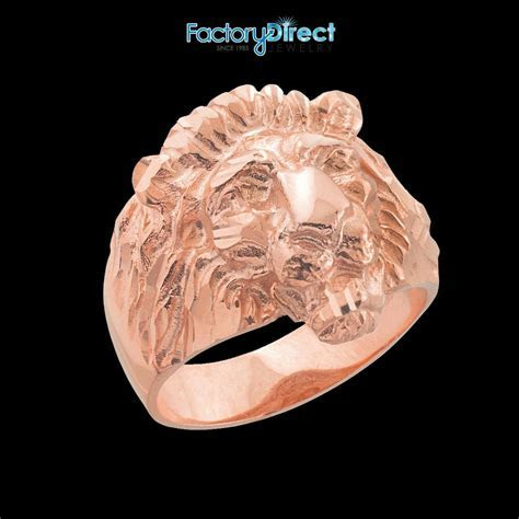 Men's Lion Head Rose Gold Ring Large   eBay