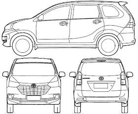 Sketsa Mobil Tampak Atas
