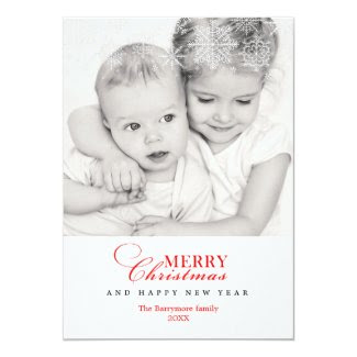 Elegant Snowflakes Merry Christmas Card