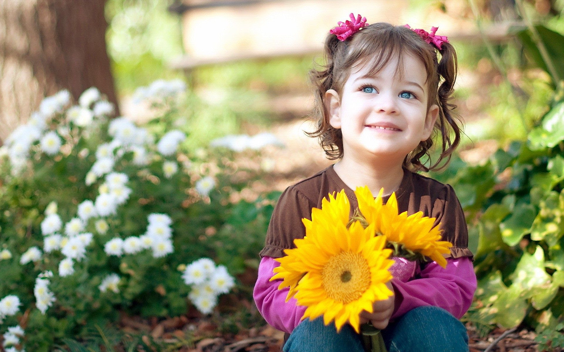 Cute Baby With Flowers Images 4237654 1920x1200 All For Desktop