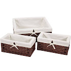 Household Essentials 3-Piece Paper Rope Decorative Storage Basket Set, Brown
