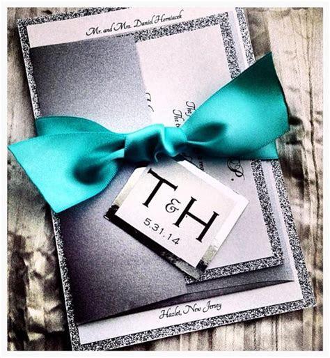 Teal Wedding Invitations, Silver Glitter Wedding