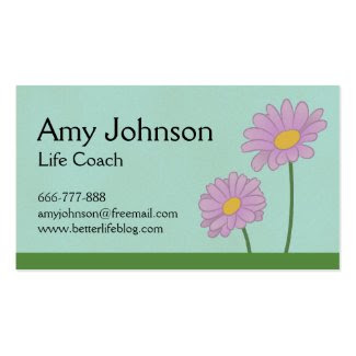 Floral designs of cheerful purple daisies business card template
