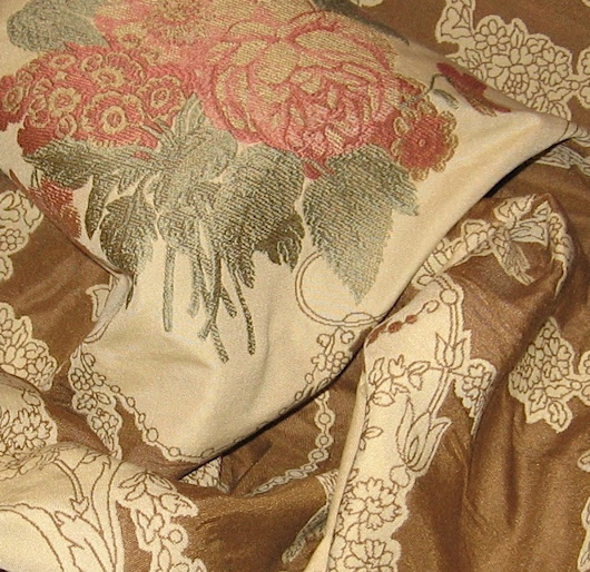 Brunschwig & Fils Lampas Embroidered Upholstery Bedding Decorating Fabric from Italy