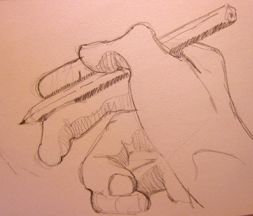 drawing of the hand by  kevin gough