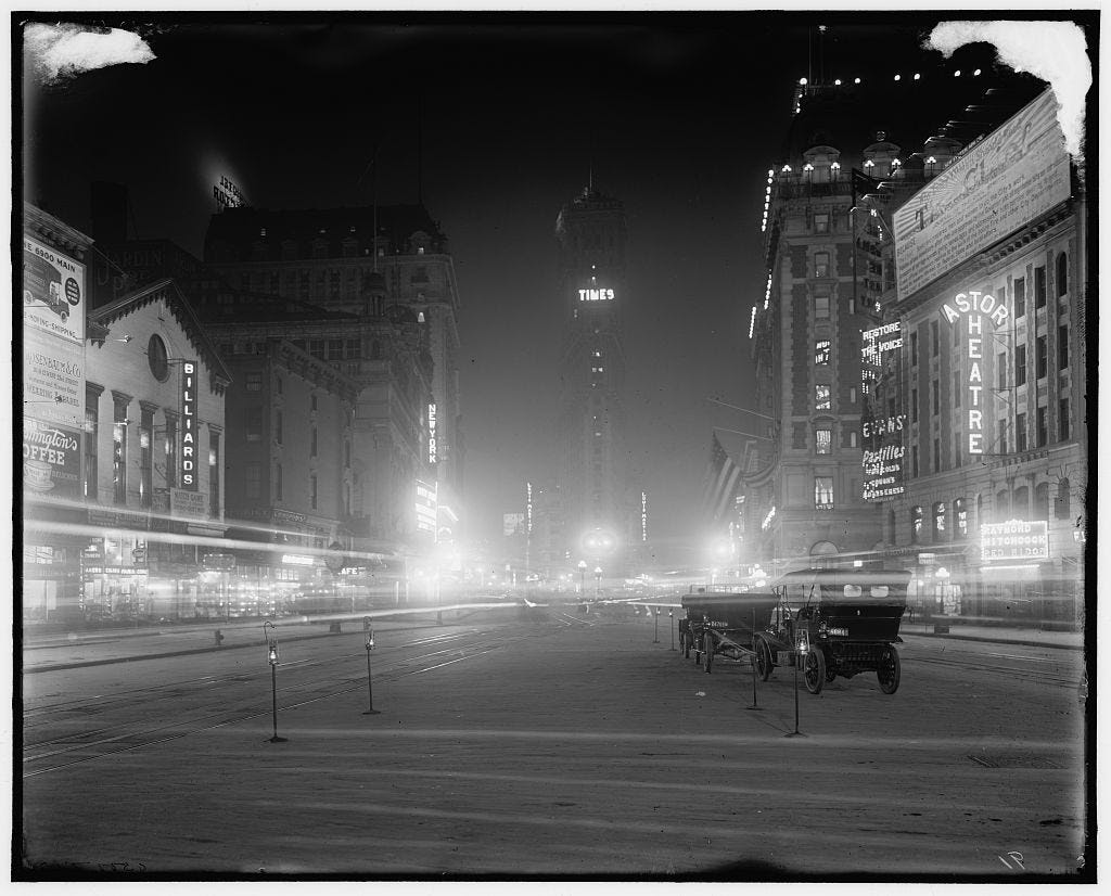 Times Square wasn't yet bombarded with advertisements at the turn of the 20th century.