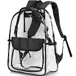 """Zodaca 17"""" Stylish Clear Backpack Schoolbag for Student Girls Women Adults Travel School Camping Daypack Transparent Sports Fashionable Bag Adjustable"""