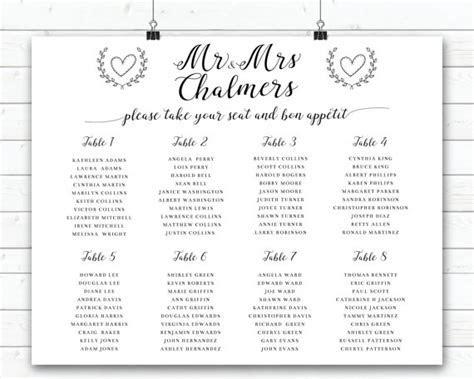 Wedding Seating Sign, Black And White Wedding Seating Plan