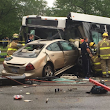 Six injured in head-on crash between city bus and car, both drivers pinned