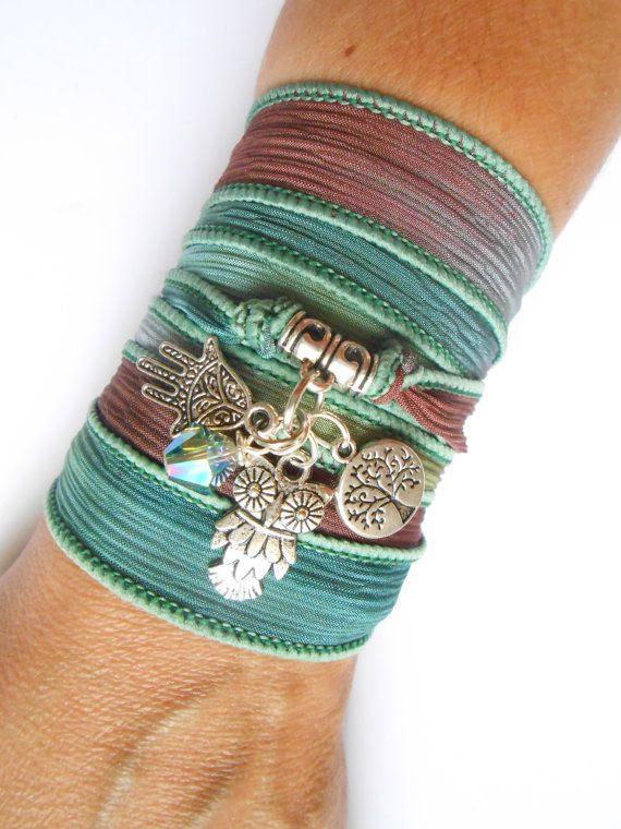 Owl Hamsa Silk Wrap Bracelet Tree of life Yoga jewelry Spiritual Bohemian jewelry Ribbon bracelet Earthy Hand dyed silk Hamsa jewelry