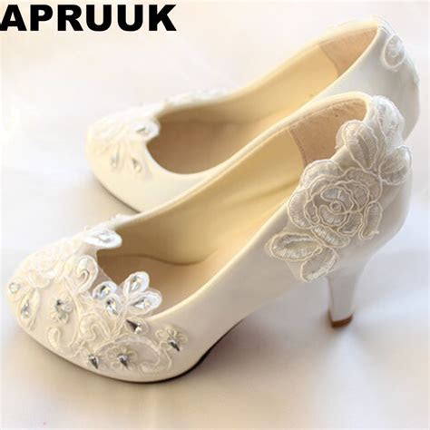 Big discount! Fashion white ivory lace wedding shoes for