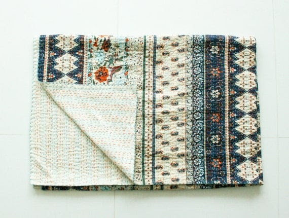 Twin Bed Cover or Blanket - Organic Handmade Cotton Blanket in Blue and White