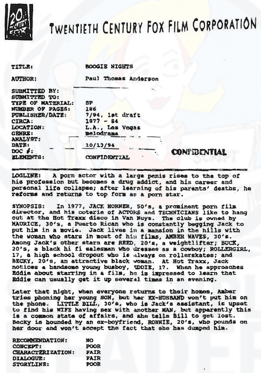 Script coverage for Boogie Nights by P.T. Anderson | Screenplay Readers
