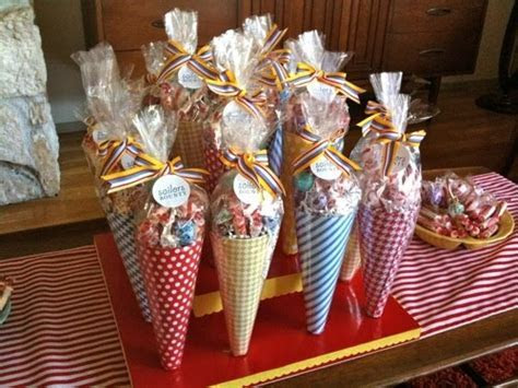 Stunning party cones for guests to take away full of yummy
