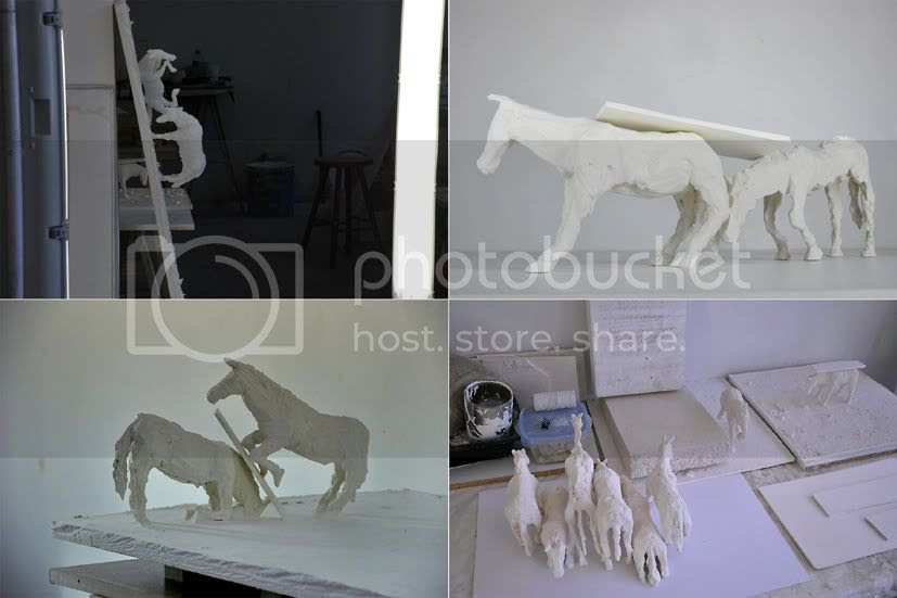 Visuel atelier, visuel de l atelier partag avec alexandre giroux et jean adrien arzillier sculpture de chevaux en pltre