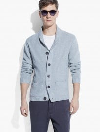 He By Mango Shawl-collar Textured Cardigan