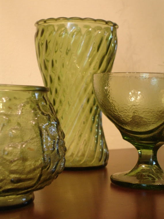 Artichoke Colored Vases and Bowls