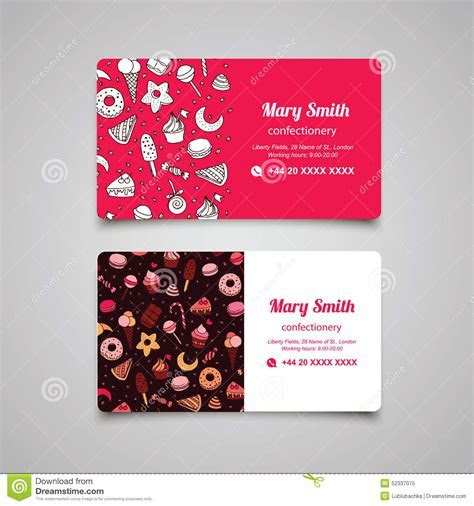 Confectionery Vector Business Card With Sweets And Pattern