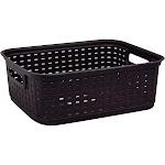 "Sterilite Plastic Storage Basket, Brown, 5.25"" x 12.25"" x 15"""