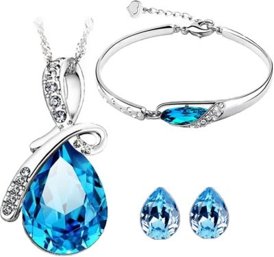 Cyan Bow style crystal jewelry set Combo with charming bracelet Alloy Jewel Set for just Rs. 649
