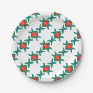 Paper Plates with Geometric Design 7 Inch Paper Plate