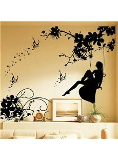 New Arrival Elegant Girl Playing on a Swing on  Right Side Wall Stickers