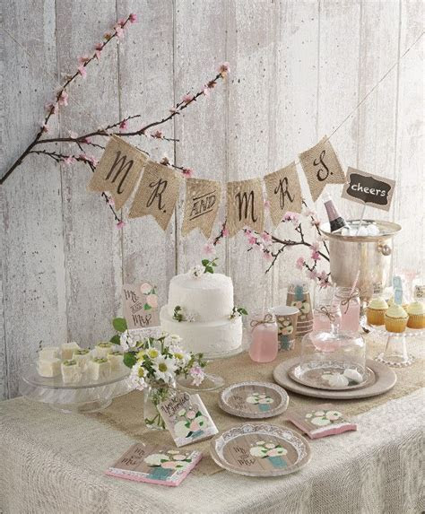 Bridal shower set up with Rustic romantic theme   Bridal