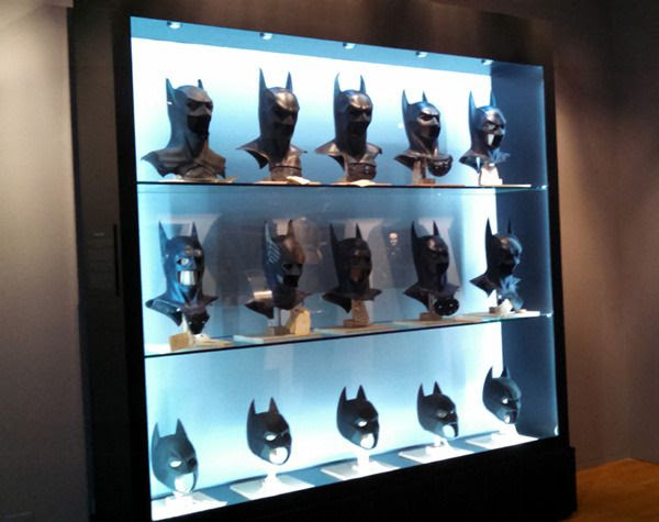 The Bat Cowls used in all of the current BATMAN movies (from 1989 to 2012)...as seen at Warner Bros studio on September 8, 2015.